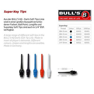 BULLS Super Key Tips, 6 mm (2BA) long/weiß